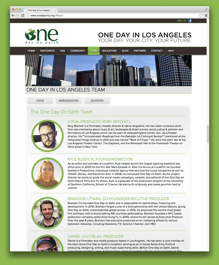 One day on earth website film