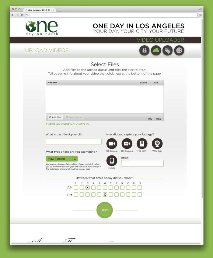 One day on earth website uploader