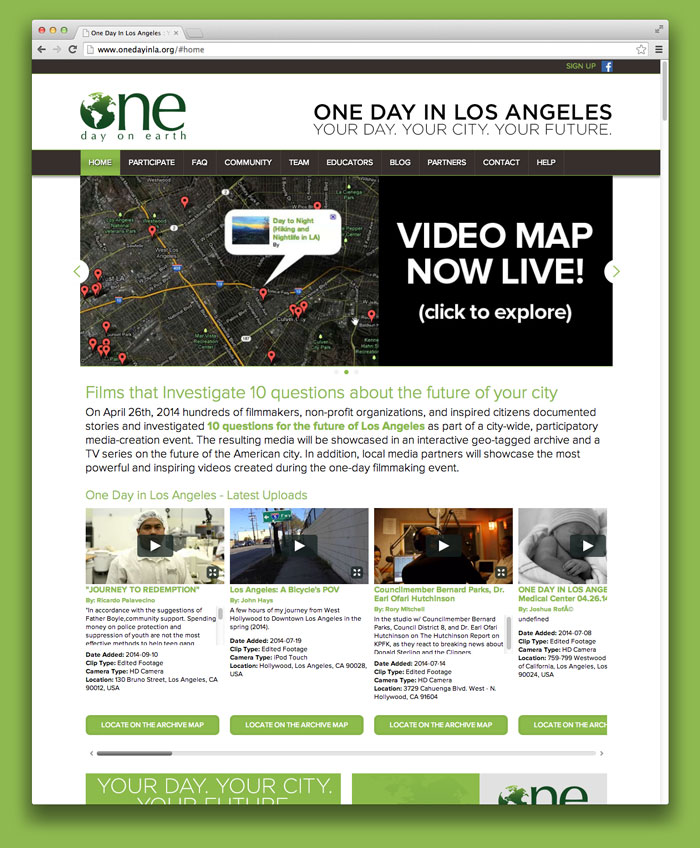 One day on earth website home
